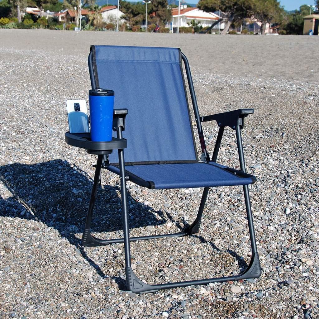 Lacivert Katlanır Kamp Piknik Sandalyesi ve Oval Bardaklık