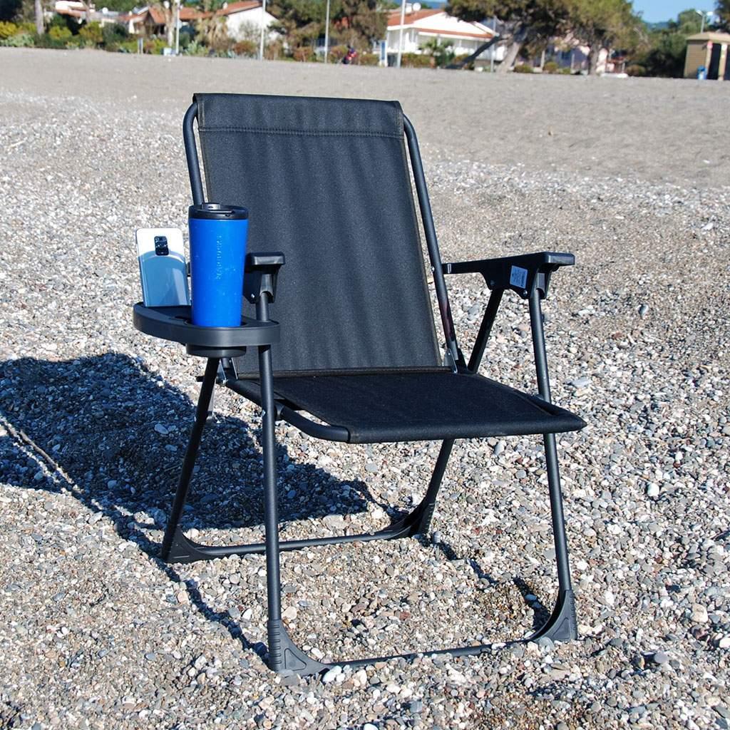 Siyah Katlanır Kamp Piknik Sandalyesi ve Oval Bardaklık