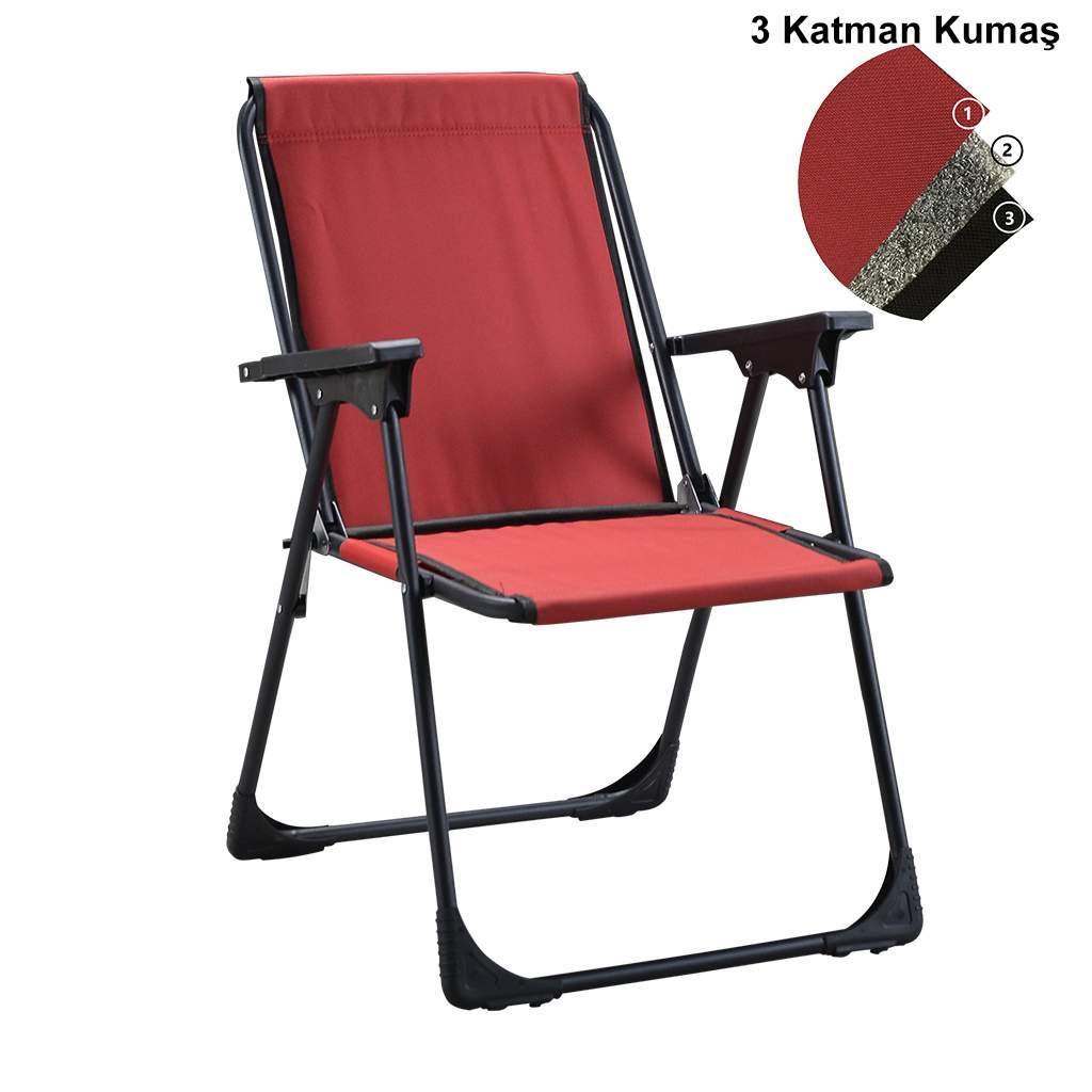 Kırmızı Katlanır Kamp Piknik Sandalyesi ve Oval Bardaklık