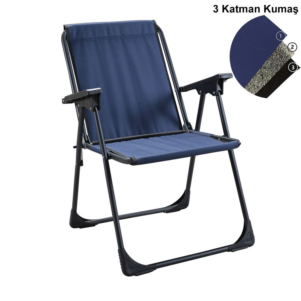 Moniev Katlanır Kamp Piknik Sandalyesi Plaj Koltuğu Şezlong Lacivert